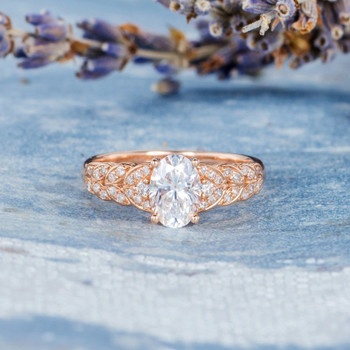 5*7mm Oval Cut Rose Gold Moissanite Engagement  Anniversary Ring