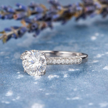 7.5mm Round Moissanite Engagement  White Gold Half Eternity Ring