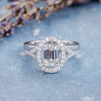 5*7mm Emerald Cut Moissanite Engagement  White Gold Wedding Ring