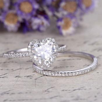 6.5mm Heart Cut Moissanite Ring Set 14k White Gold  Diamond Band