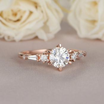 6mm Round Moissanite Engagement Ring Rose Gold Diamond Ring
