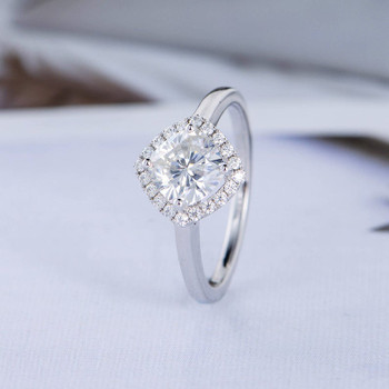 6mm Cushion Cut Moissanite Engagement White Gold Halo Diamond Ring