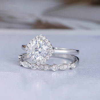 7mm Cushion Cut Moissanite Engagement Ring Set White Gold Diamond Band