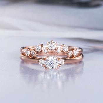 Rose Gold Moissanite Engagement Ring Set Diamond Wedding Bridal Band