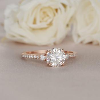 6.5mm Moissanite Engagement Rose Gold Ring Diamond SideStone Ring
