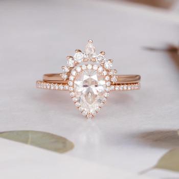 6*9mm Pear Cut Moissanite Engagement Ring Set Rose Gold Diamond Band