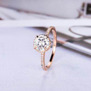 7mm Round Cut Rose Gold Moissanite Engagement Ring Diamond Ring