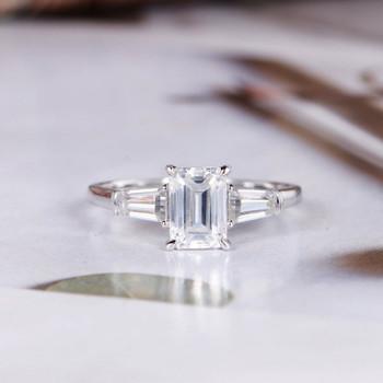 Emerald Cut Moissanite White Gold Engagement  Baguette Cut Wedding Ring
