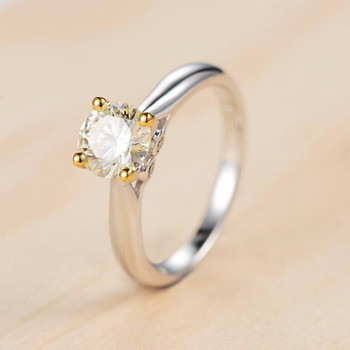 Moissanite Engagement White Gold Round Cut Ring Diamond Dainty Side