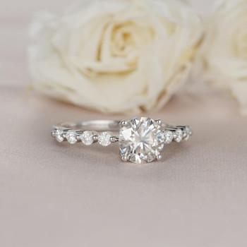 Round Cut 1ct Moissanite Engagement White Gold Ring Diamond Ring