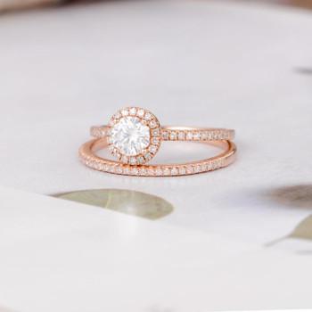 Round Moissanite Engagement Bridal Sets Rose Gold Diamond Wedding Band