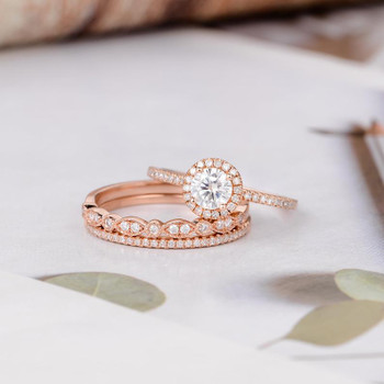 Round Moissanite Engagement Bridal Set Rose Gold Diamond Wedding Band