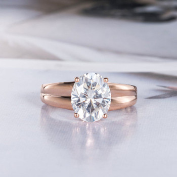 Oval Cut 8X10mm Moissanite Engagement Rose Gold Ring  Gift for Her