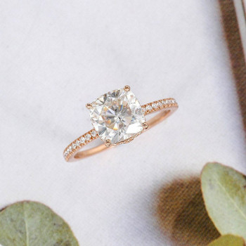 Cushion Cut Moissanite Engagement Ring Rose Gold Promise Ring