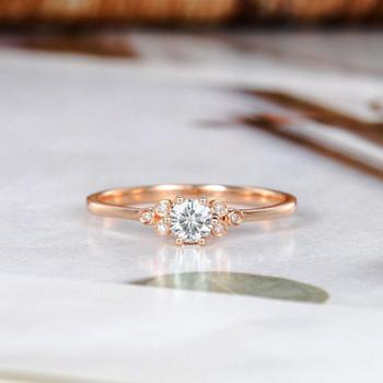 Moissanite Engagement Ring Rose Gold Diamond Side Ring Simple Bridal Ring