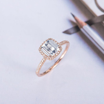 Cushion Cut Moissanite Engagement Ring Rose Gold Halo Diamond Ring Band