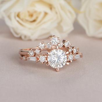 Rose Gold Moissanite Engagement Ring Bridal Set Diamond Baguette Cut Band