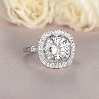 Cushion Cut Moissanite Engagement White Gold Ring  Anniversary Gift