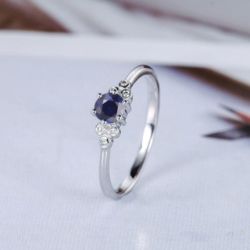 Sapphire Engagement Ring White Gold Cluster Diamond Ring Side