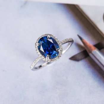 Oval Cut Sapphire Engagement Ring White Gold Halo Half Eternity Diamond Band