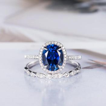 Oval Cut Sapphire Engagement Ring Set White Gold Half Eternity Diamond Band
