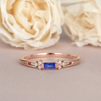 Baguette Cut Sapphire Engagement Ring Rose Gold Diamond Band Gift for Her