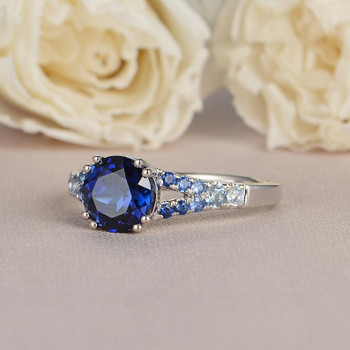 Sapphire Engagement Ring White Gold Bridal Ring Gradual Change Colorful Ring