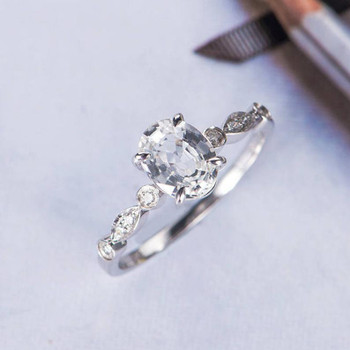 Oval Cut White Sapphire Engagement Ring White Gold Diamond Ring