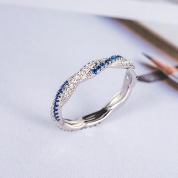 Infinity Wedding Band Diamond Blue Sapphire Twist White Gold Ring