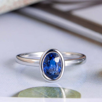 Blue Sapphire Engagement Ring Oval Cut White Gold Bridal Ring