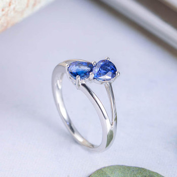 Pear Shaped Sapphire Engagement Ring White Gold Anniversary Promise Ring