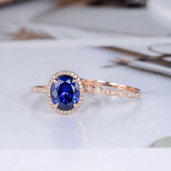 Oval Cut Sapphire Engagement Ring Set Rose Gold Diamond Band