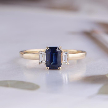 Baguette Cut Natural Sapphire Engagement Ring Yellow Gold Diamond Ring