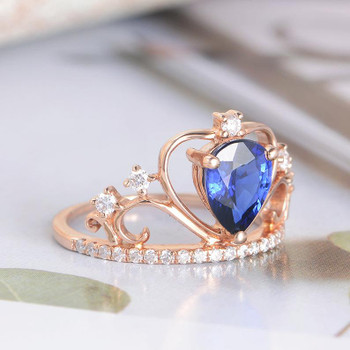 Oval Cut Rose Gold Natural Sapphire Engagement Ring Diamond Ring