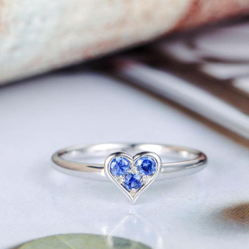 Sapphire Engagement Ring White Gold Heart Shape Wedding Ring