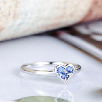 Sapphire Engagement Ring White Gold Heart Shape Wedding Ring
