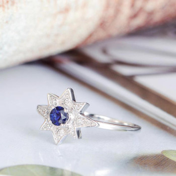 Blue Sapphire Engagement Ring White Gold Diamond Star Shaped Ring