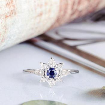Blue Sapphire Engagement Ring White Gold Diamond Star Shaped Ring
