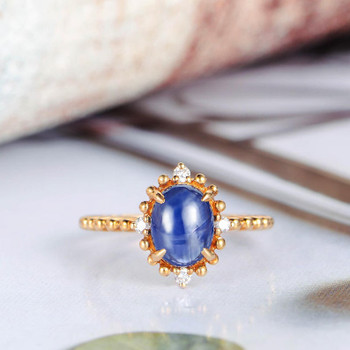 Cabochon Blue Sapphire Engagement Ring Yellow Gold Diamond Ring