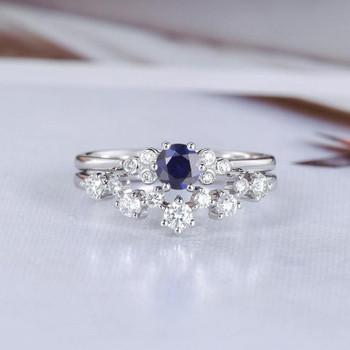 Lab Sapphire Bridal Set White Gold Wedding Ring Set Diamond Ring Set