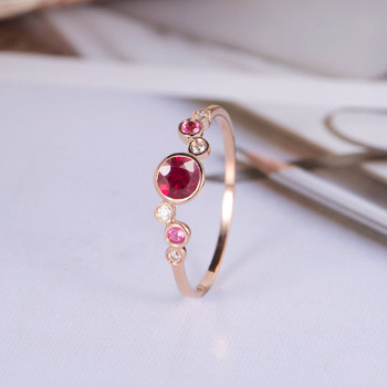 Lab Ruby Engagement Ring Rose Gold Pink Tourmaline Diamond Ring