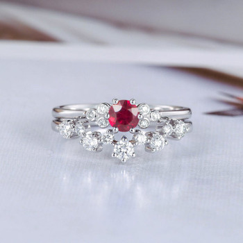 Ruby Bridal Set White Gold September Birthstone Diamond Ring Set