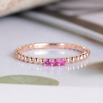 Natural Ruby Wedding Band Rose Gold Beaded Promise Ring Band