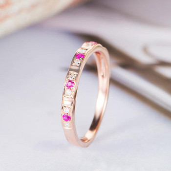 Rose Gold Wedding Band Women Ruby Diamond Antique Stacking Band