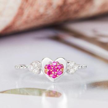 Heart Shape Ruby Engagement Ring White Gold Diamond Wedding Ring
