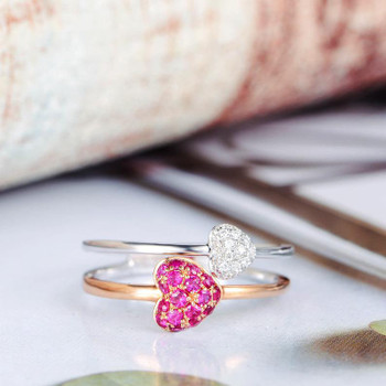 Double Band Rose Gold Ruby White Gold Diamond Promise Heart Ring