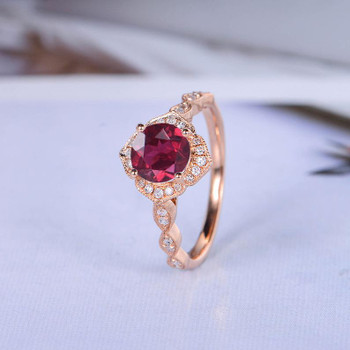 Rose Gold Ruby Engagement Ring Round Cut Diamond Wedding Ring