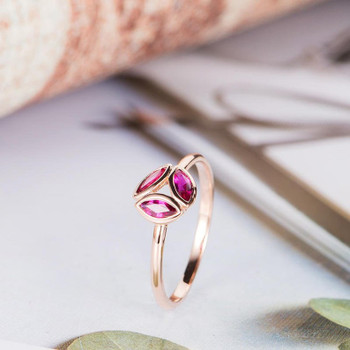 Marquise Cut Ruby Engagement Ring Rose Gold Cluster Wedding Ring
