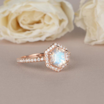 Rose Gold Hexagon Shaped Rainbow Moonstone Ring