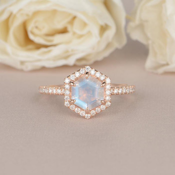 Rose Gold Hexagon Shaped Rainbow Moonstone Ring